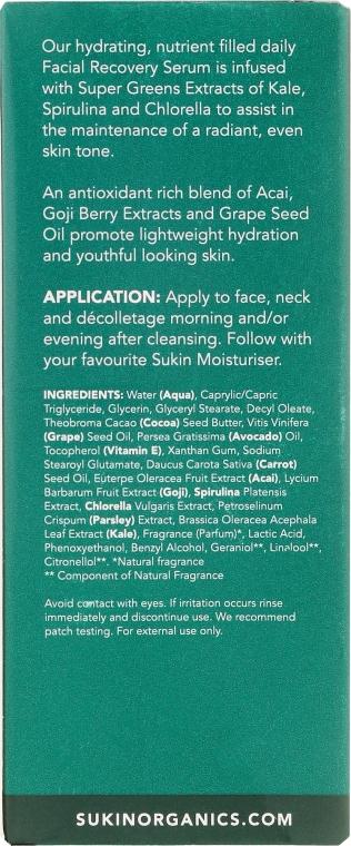 Ser regenerant pentru față - Sukin Super Greens Facial Recovery Serum — Imagine N3