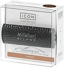 """Parfumuri și produse cosmetice Aromatizator auto """"Metal: Negru"""" - Millefiori Milano Icon Car Air Freshener Nero"""