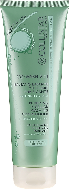 Balsam micelar pentru păr gras - Collistar Co-Wash 2in1 Purifying Micellar Washing Conditioner — Imagine N1