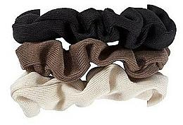 Parfumuri și produse cosmetice Set elastice de păr, 420, negru + maro + bej - Glamour