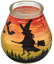 """Parfumuri și produse cosmetice Lumânare decorativă în suport de sticlă """"Patiolight Bat and Witch"""", 94/91 mm - Bolsius Candle"""