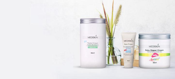 La achiziționarea cremei protectoare sub scutec și loțiunii multifuncționale de corp Mediskin, primești cadou o cremă de corp