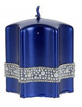 """Parfumuri și produse cosmetice Lumânare decorativă """"Stea"""", albastră, 9x10cm - Artman Crystal Opal Pearl"""