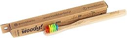 """Parfumuri și produse cosmetice Periuță de dinți din bambus pentru copii """"Colour"""", peri multicolori - WoodyBamboo Bamboo Toothbrush Kids Soft/Medium"""