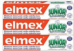 Parfumuri și produse cosmetice Set - Elmex Junior Toothpaste Set (3xtoothpaste/75ml)