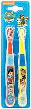 Parfumuri și produse cosmetice Set periuțe de dinți, moi, roșu + galben - Nickelodeon Paw Patrol (toothbrush/2szt)