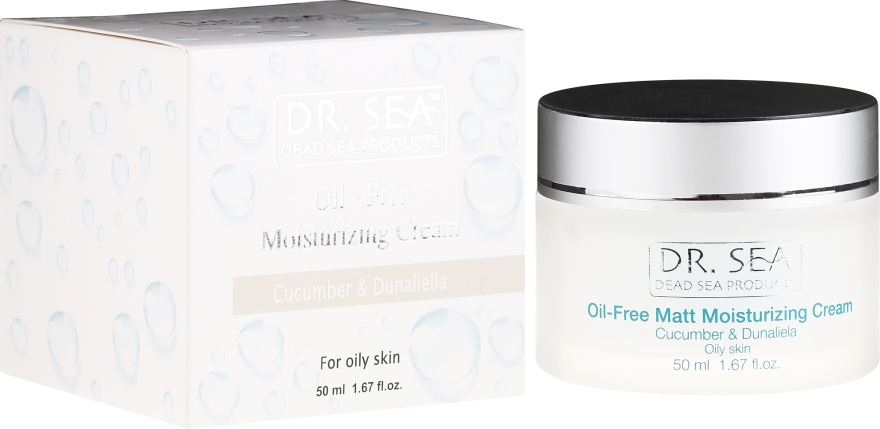 Cremă hidratantă cu extract de castraveți și dunaliella pentru față - Dr. Sea Oil-Free Matt Moisturizing Cream — Imagine N1