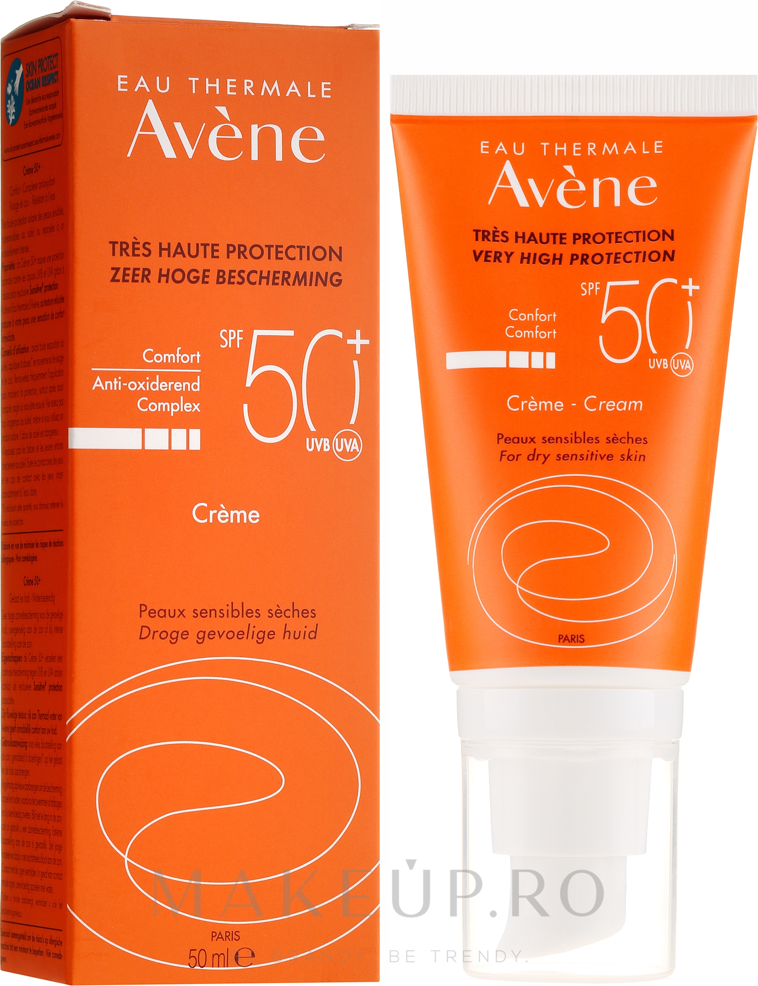 Cremă de protecție solară pentru față - Avene Eau Thermale Sun Cream SPF50 — Imagine 50 ml