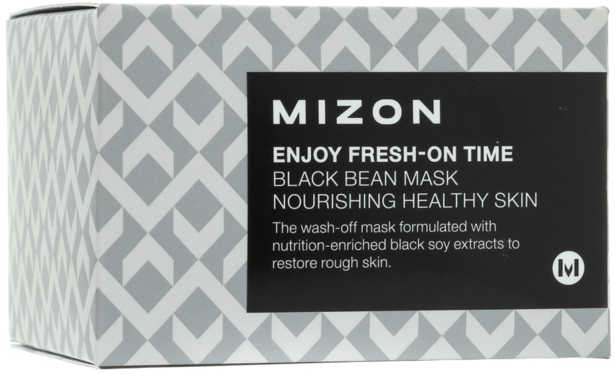 Mască pentru înlăturarea ridurilor, cu extract de fasole neagră - Mizon Enjoy Fresh On-Time Black Bean Mask — Imagine N1