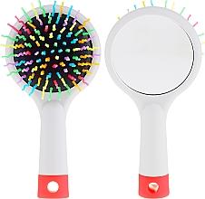 Parfumuri și produse cosmetice Perie cu oglindă pentru păr, gri - Twish Handy Hair Brush with Mirror Light Grey