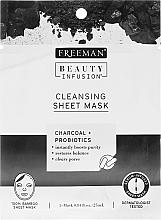 Parfumuri și produse cosmetice Mască de țesut pentru curățare, cu carbon activ, probiotice și ser - Freeman Beauty Infusion Cleansing Clay Mask Charcoal & Probiotics