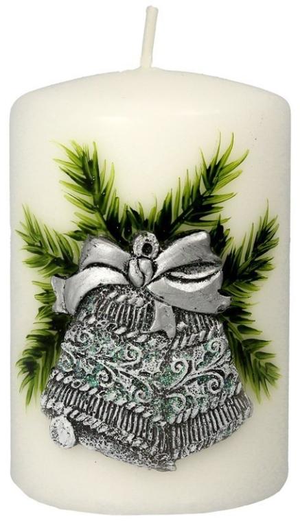 Lumânare aromatică, 7x10 cm, Turcoaz argintiu - Artman Christmas Bell Candle  — Imagine N1