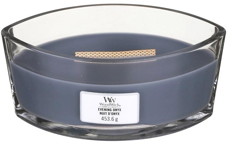 Lumânare aromată în suport de sticlă - Woodwick Hearthwick Flame Ellipse Candle Evening Onyx — Imagine N1