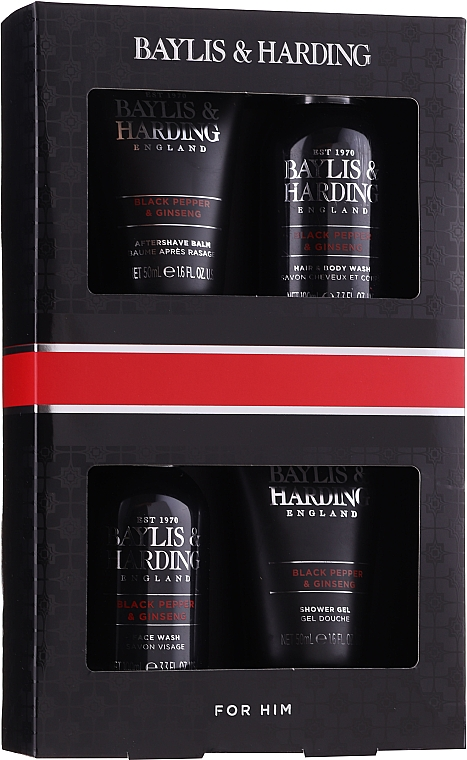 Set - Baylis & Harding Men's Black Pepper & Ginseng 4 Piece Box (hair/body/wash/100ml+a/sh/balm/100ml+face/wash/100ml+shawer/gel/50ml) — Imagine N1