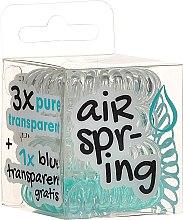 Parfumuri și produse cosmetice Elastice de păr, 4 bucăți, transparent + turcoaz - Hair Springs