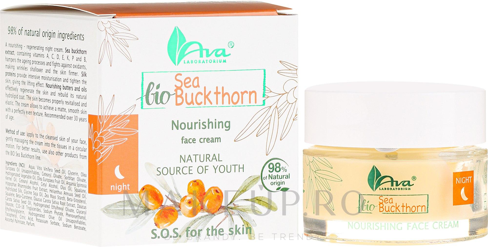Cremă nutritivă de noapte, cu extract de cătină albă - Ava Laboratorium BIO Seabuckthorn Cream — Imagine 50 ml