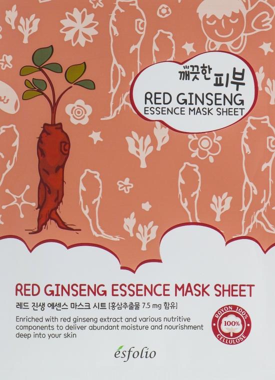 Mască din țesătură cu ginseng roșu - Esfolio Pure Skin Red Ginseng Essence Mask Sheet