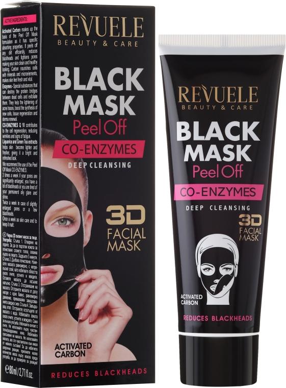 """Mască neagră pentru față """"Coenzima Q10"""" - Revuele Black Mask Peel Off Co-Enzymes"""
