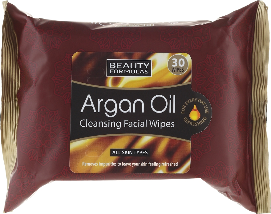 Șervețele de curățare pentru față - Beauty Formulas Argan Oil Cleansing Facial Wipes