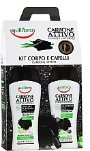 Parfumuri și produse cosmetice Set - Equilibra Active Charcoal Detox Bio Box (sh/gel/250ml + shampoo/250ml + b/sponge/1)