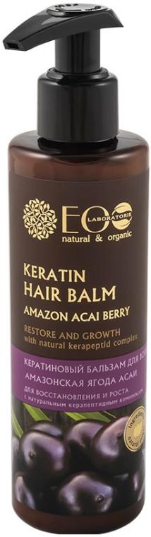 Balsam cu cheratină pentru restaurarea și creșterea părului - ECO Laboratorie Keratin Hair Balm Amazon Acai Berry