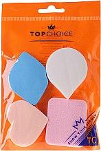 Parfumuri și produse cosmetice Burete pentru fond de ten, 6449, roz + albastru, 4 buc. - Top Choice