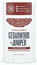 """Parfumuri și produse cosmetice Deodorant natural """"Cedar și Ienupăr"""" - Schmidt's Deodorant Cedarwood Juniper"""