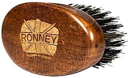 Perie din lemn, cu peri naturali, pentru barbă, închisă la culoare - Ronney Professional Barber Small Brush — Imagine N1
