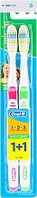 Parfumuri și produse cosmetice Set periuțe de dinți, medium (roz+verde) - Oral-B 1 2 3 Maxi Clean 40 Medium 1+1