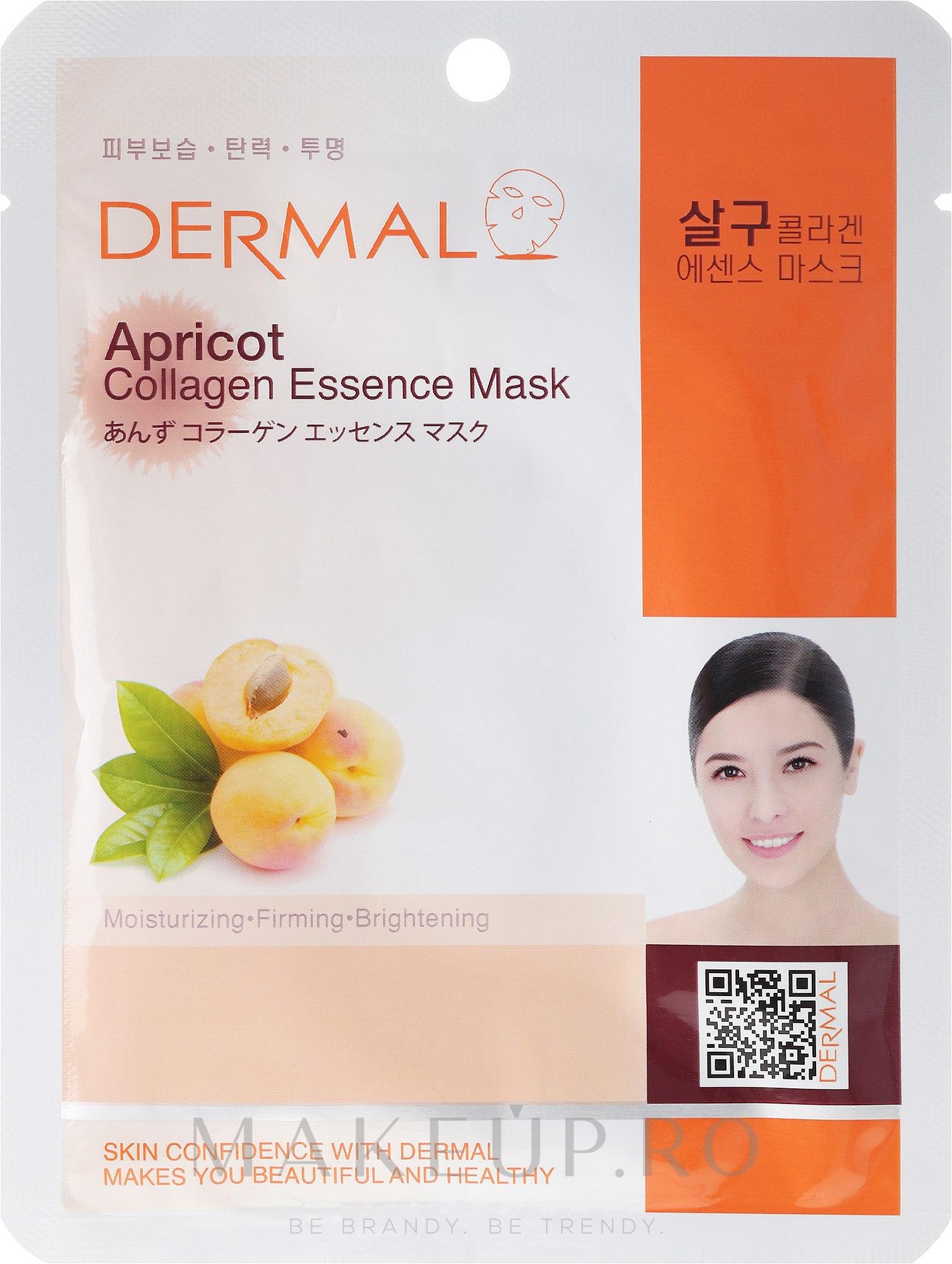Mască cu extract de colagen și caise - Dermal Apricot Collagen Essence Mask — Imagine 23 ml