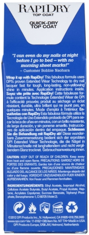 Fixator, uscare rapidă - O.P.I RapiDry TopCoat — Imagine N3
