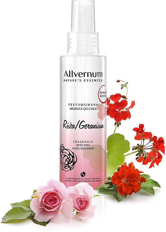 "Spray parfumat de corp ""Trandafir și Geranium"" - Allvernum Allverne Nature's Essences Body Mist"