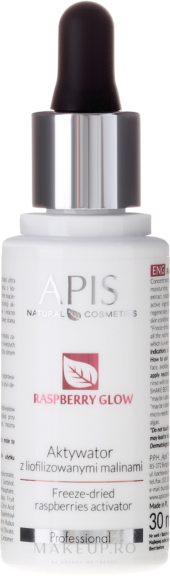 Activator facial cu zmeură liofilizată - APIS Professional Raspberry Glow — Imagine 30 ml