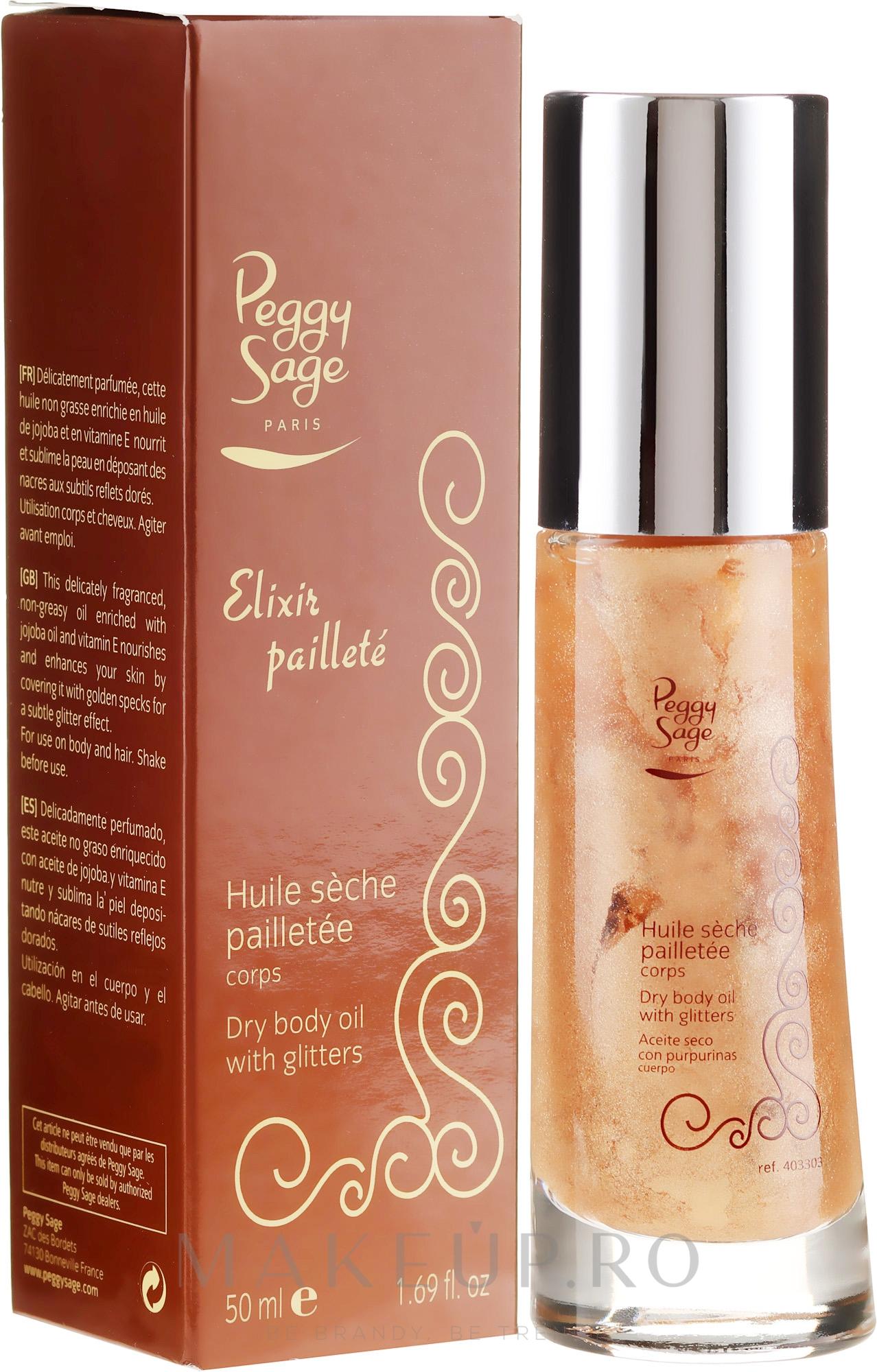 Ulei cu sclipici pentru corp - Peggy Sage Body Oil With Glitter — Imagine 50 ml