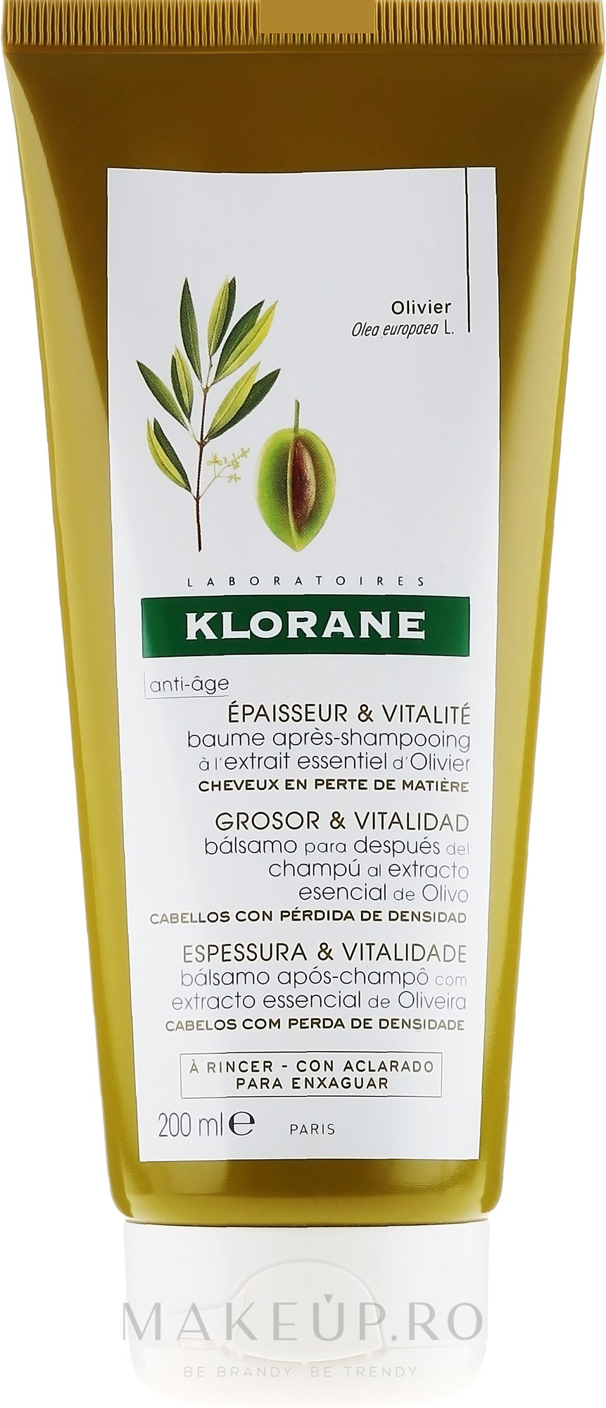Balsam pentru păr - Klorane Thickness & Vitality Conditioner With Essential Olive Extract — Imagine 200 ml