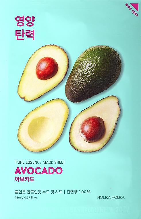Mască de țesut pentru față cu efect de catifelare și extract de avocado - Holika Holika Pure Essence Mask Sheet Avocado
