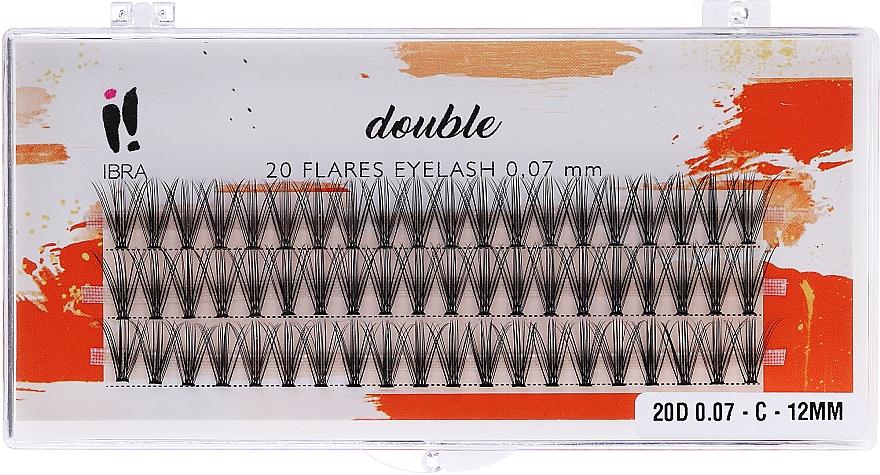 Gene individuale, C 12 mm - Ibra 20 Flares Eyelash Knot Free Naturals