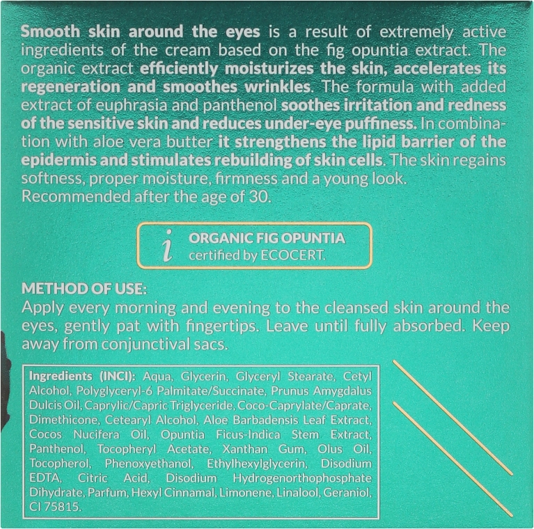 Cremă pentru zona din jurul ochilor - Ava Laboratorium Opuntica Hydro Hi–Lift Eye Contour Cream — Imagine N3