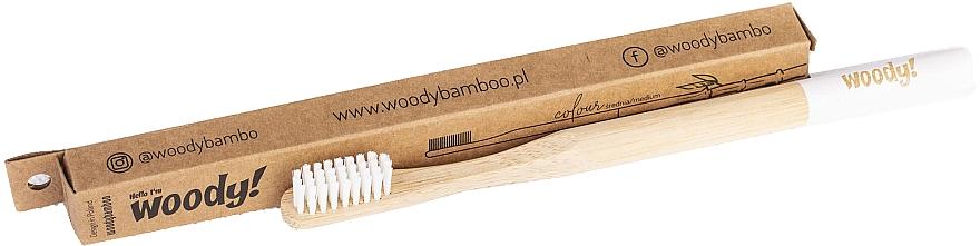 "Periuță de dinți din bambus ""Colour"" medie, peri albi - WoodyBamboo Bamboo Toothbrush — Imagine N1"
