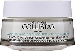 Parfumuri și produse cosmetice Cremă saturată cu acid glicolic pentru o piele perfectă a feței - Collistar Pure Actives Glycolic Acid Rich Cream SPF20