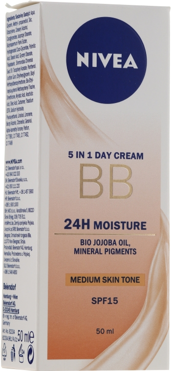 Cremă BB - Nivea 5in1 BB Day Cream 24H Moisture SPF 15 — Imagine N1