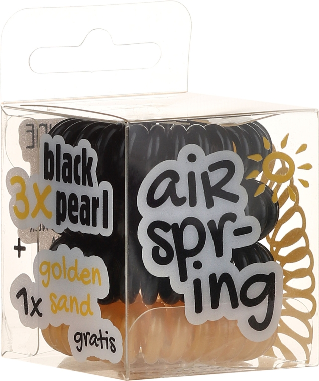 Set elastic de păr, 4 buc., negru + auriu - Hair Springs
