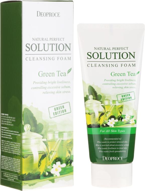Spumă de curățare cu extract de ceai verde - Deoproce Natural Perfect Solution Cleansing Foam Green Tea — Imagine N1