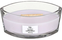 Lumânare aromată în suport de sticlă - Woodwick Hearthwick Flame Ellipse Candle Wild Violet — Imagine N1