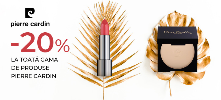 Reducere 20% la toată gama de produse Pierre Cardin. Prețurile de pe site sunt indicate cu reducerea inclusă