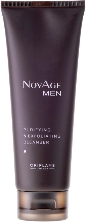 Gel de curăţare purificator şi exfoliant 2 în 1 pentru bărbați - Oriflame NovAge Men Purifying & Exfoliating Cleancer — Imagine N1