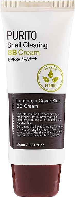 BB cream cu mucină de melc - Purito Snail Clearing BB Cream SPF38/PA+++ — Imagine N1