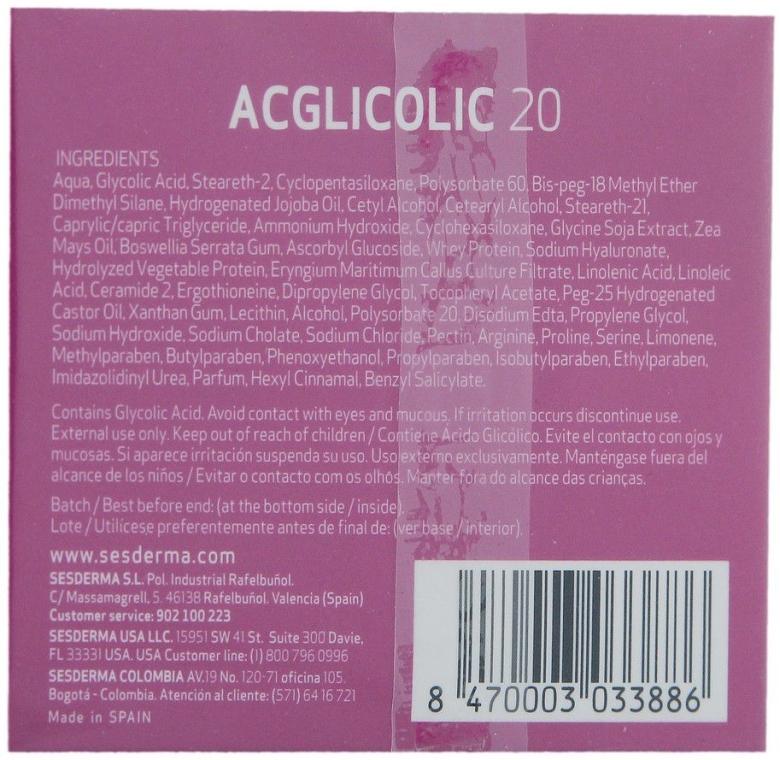 Cremă de noapte anti-îmbătrânire - SesDerma Laboratories Acglicolic 20 Nourishing Cream — Imagine N2