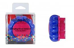 """Parfumuri și produse cosmetice Perie compactă de păr """"Mușețel"""", roz / albastru - Rolling Hills Brosse Desenredar Flower"""