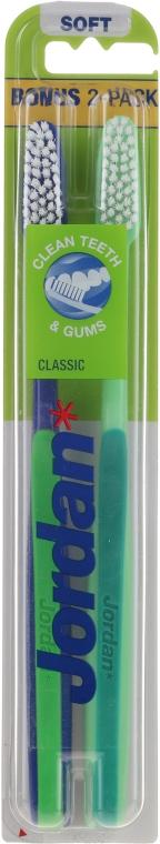 """Set periuțe de dinți, moi """"Clasic"""", albastru + verde - Jordan Classic Soft (toothbrush/2szt) — Imagine N1"""